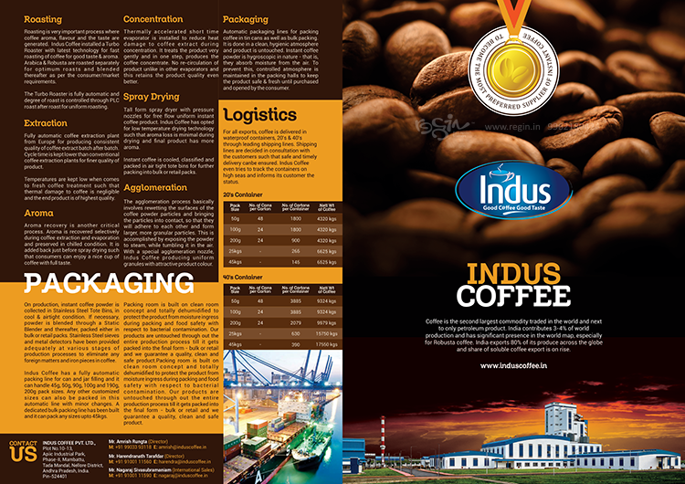 Indus Coffee Brochure Done For Agency: Red Crea Entertainment