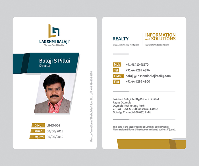 Lakshmi Balaji Company ID Card And Visiting Design